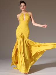 yellow mermaid halter neck sleeveless ruched bodice chiffon prom