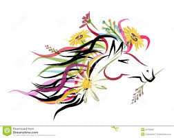 horse head sketch with floral decoration for your royalty free