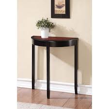 Hallway Accent Table Small Cherry Wood Demilune Console Table With High Legs And