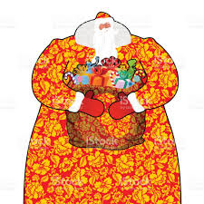 santa claus in russia father frost costume painting khokhloma