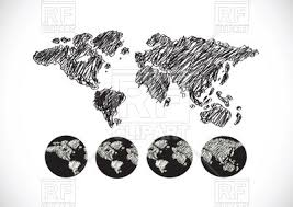 globe and world map sketch design vector clipart image 68059