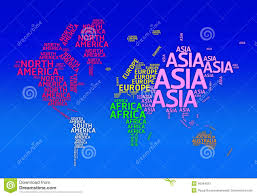 Asia Map With Country Names by World Color Map Continents And Country Name Stock Vector Image