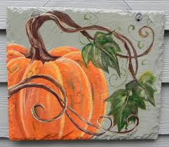 decor orange pumpkin canvas paintings with stretched canvas