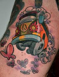 a cute car tattoo of a vw volkswagen hippy van from the 1960s