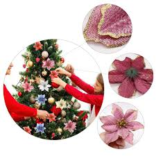 aliexpress com buy glitter poinsettia christmas tree ornaments