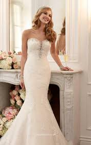 strapless sweetheart neckline beaded lace mermaid wedding dress
