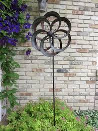 Garden Spinners And Decor Details About Solar Flower Wind Spinner Metal Garden Yard Decor