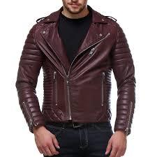 buy biker jacket buy wine color quilted biker leather jacket online best price
