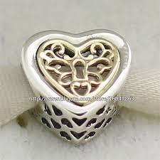 sterling silver beads pandora bracelet images 100 925 sterling silver 14k real gold locked hearts charm bead jpg