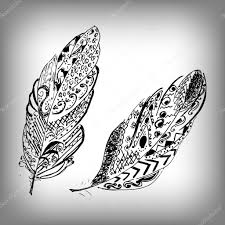 hand drawn stylized feathers vector collection cute zentangle