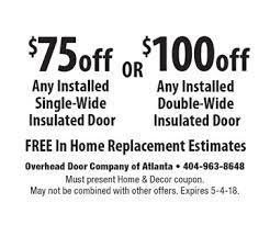 Overhead Door Company Atlanta Localflavor Overhead Doors Of Atlanta Coupons
