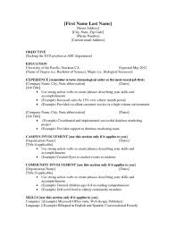 Resume Expected Graduation by Resume Education Section Chronological Order
