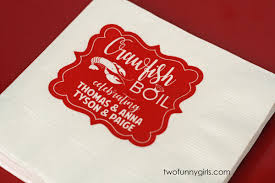 personalized crawfish trays personalized napkins for lobster boil white napkin