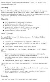 Commercial Manager Resume Professional Debt Collection Manager Templates To Showcase Your