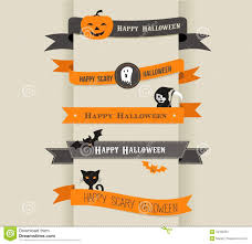 halloween banner clip art happy halloween set of ribbons and icons stock images image