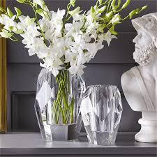 Crystal Flower Vases Set Of 2 Faceted Crystal Vases