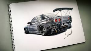 nissan silvia drawing drawing nissan skyline gtr r32 youtube