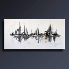 Tableau Abstrait Rouge Et Gris by 72 Grand Noir Blanc Gris Or Peinture Abstraite Sur Toile Par