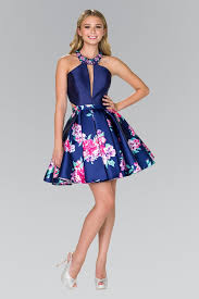 blue dress high neck floral print blue dress by elizabeth k gs2392 abc
