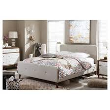 Baxton Studio Platform Bed Laurio Mid Century Retro Modern Fabric Upholstered Platform Bed