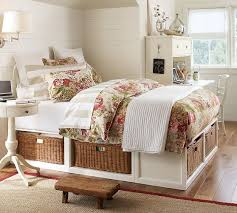 Platform Bed With Nightstands Attached Stratton Storage Bed With Baskets Bed U0026 Dresser Set Pottery Barn