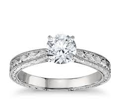 solitare ring engraved solitaire engagement ring in platinum blue nile
