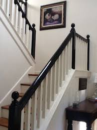 Wood Banisters And Railings Staircase Thinking About Painting My Rails Black Outside