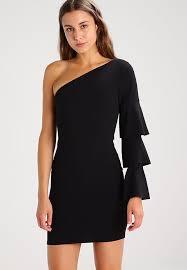 missguided one shoulder ruffle shift dress black zalando co uk