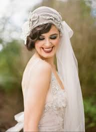 stylish hairstyle with long and short hairs with veil for wedding