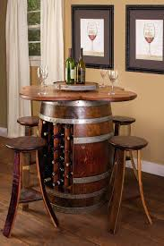 side table side table wine rack barrel set base with 4 stools