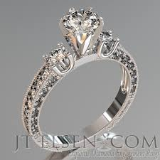 set rings round images Pave diamond enagement rings antique style engagement ring round jpg