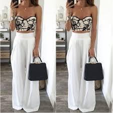 online shop fashion women wide leg pants high waist elastic party