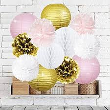 pink and gold party supplies pink gold party decorations furuix 12pcs tissue paper pom pom