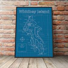 Whidbey Island Map Whidbey Island Map Original Artwork Whidbey Island Map Art