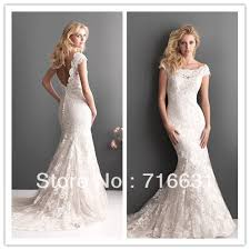 scoop neck lace wedding dress scoop neckline sleeve open back floor length