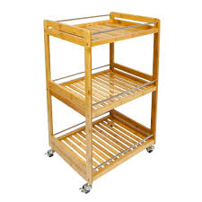 kitchen storage island cart woodluv bamboo 3 tier kitchen storage serving trolley island cart