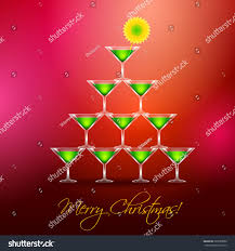 martini glasses christmas tree on red stock vector 229288090
