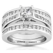 trio wedding sets 3 carats princess wedding trio ring set jewelocean
