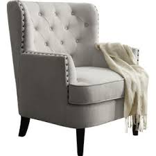 Nailhead Accent Chair Nailhead Accent Chairs You Ll Wayfair Throughout Light Grey