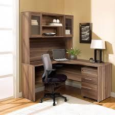 modern walnut l shaped desk with hutch u0026 mobile pedestal