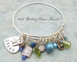 Birthday Charm Bracelet 40th Birthday Gift 40th Birthday Charm Bracelet Handstamped