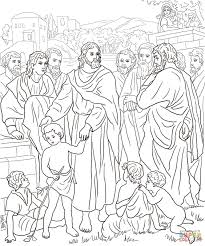 jesus with children coloring page free printable coloring pages