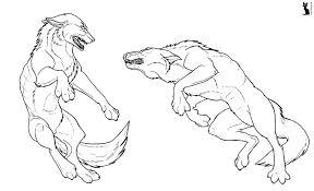 werewolf fight lineart by astrocat on deviantart