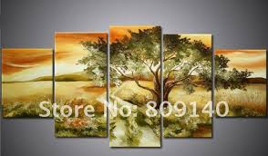 Yellow Orange Black Wall Art Landscape Oil Painting Canvas - Wall paintings for home decoration