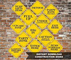 Construction Party Centerpieces by Instant 8x8 Construction Party Decor Signs Printable File