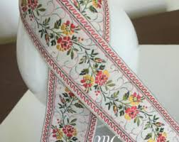 floral ribbon embroidered ribbon etsy