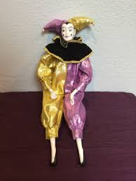 vintage clown court jester porcelain doll figurine collectible by