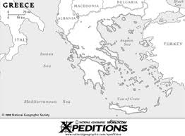 Greece Map Blank by Sparta Athens Troy Corinth Ionia Argos Megara Thebes