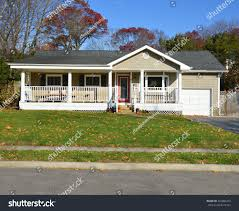 ranch style home suburban ranch style home porch sunny stock photo 245882263