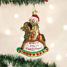 amazon com old world christmas rocking horse teddy glass blown